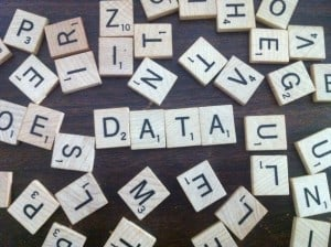 Data spelled out in Scrabble