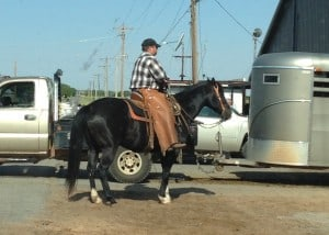 A horseback rider stands next to a pickup truck pulling a stock trailer.