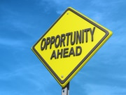 """Yield sign with """"Opportunity Ahead"""""""