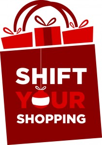 "Shopping bag labeled ""Shift your shopping"""