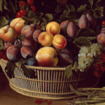 Fine art painting of a still life with basket of fruit
