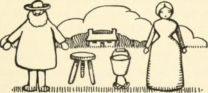 Old fashioned illustration of a farm couple with a three legged stool and milking pail