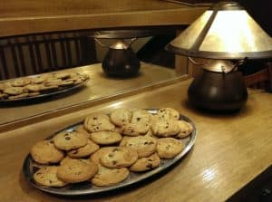 A tray of cookies on a craftsman-style table